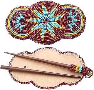 Handmade Barrette Wood Stick Slide Seed Beaded Brown Star Rosettes Hair Accessories Z40/3