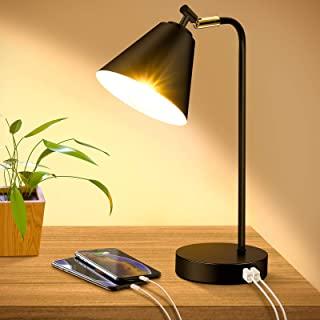 چراغ رومیزی قابل تنظیم با 2 پورت شارژ USB پریز برق AC ، لامپ لمسی تخت خواب چراغ خواندن سر انعطاف پذیر ، لامپ میز فلزی مشکی برای اتاق نشیمن اتاق کار اتاق ، لامپ
