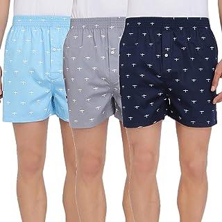 Lecherous Men's Cotton Boxers (Pack of 3) (XL) Blue