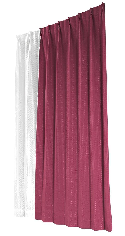 目を覚ます道潜むユニベール ドレープカーテン レッド 幅100×丈178cm 4枚組 HAZ-S0001