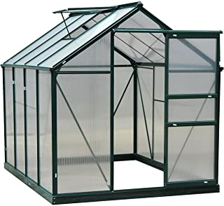 Outsunny 6' x 8' x 7' Walk-in Plant Greenhouse for Backyard/Outdoor Use with Window and Door, Aluminum Frame, PC Board
