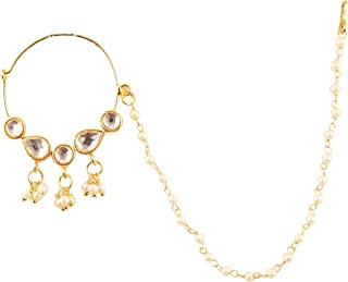 New Indian Bollywood Desire Kundan Polki Look Designer Bridal Jewelry Nath (Nose Accessory) in Gold Tone for Women.