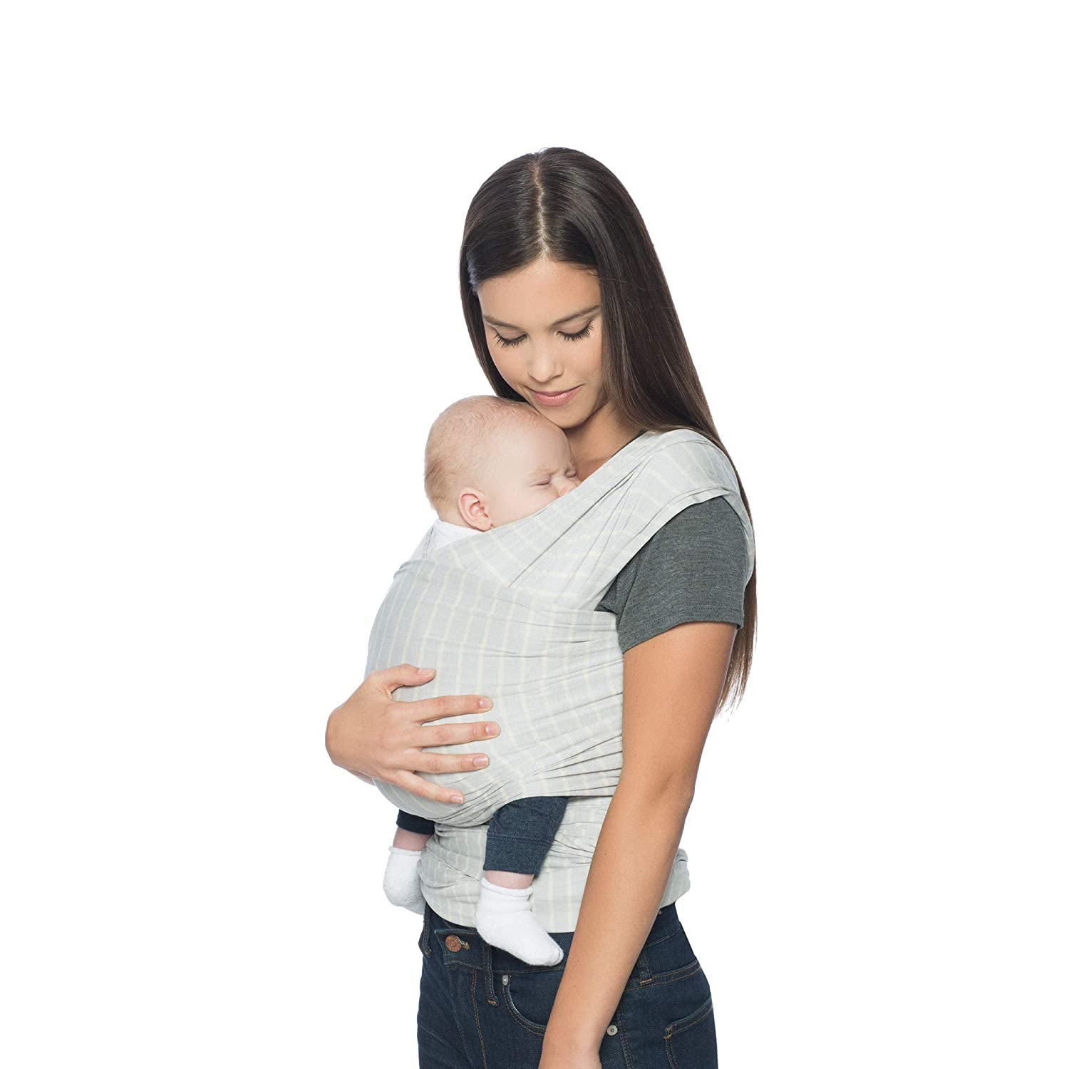 Ergobaby Aura Baby Carrier Wrap for Newborn to Toddler (7-25 Pounds), Grey Stripes