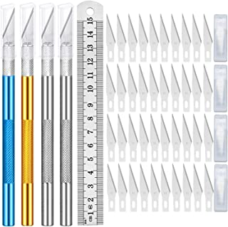 OBSCYON 4 Pieces Exacto Knife Carving Hobby Knife Craft Knife with 80 Pieces Stainless Steel Blades Kit for Art Work Cutti...