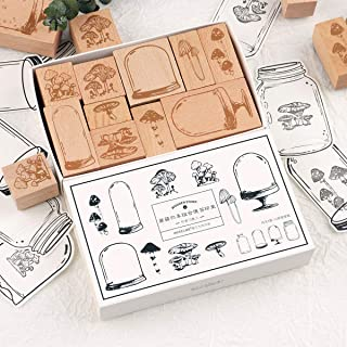 Risypisy Wooden Rubber Stamp Set, 10pcs Decorative Rubber Stamps with Mushroom & Specimen Bottle Printed & 12 Sheets Jar S...