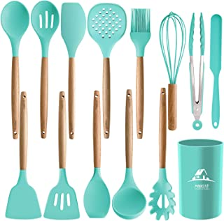 MIBOTE 14PCS Silicone Cooking Kitchen Utensils Set with Holder, Wooden Handles Cooking..