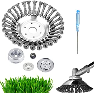 Upgraded 8 in Steel Wire Brush Cutter Trimmer Head kit, GS Alderaul 6 Pcs Weed Eater Wire Brush kit, with Weed Eater Blade...