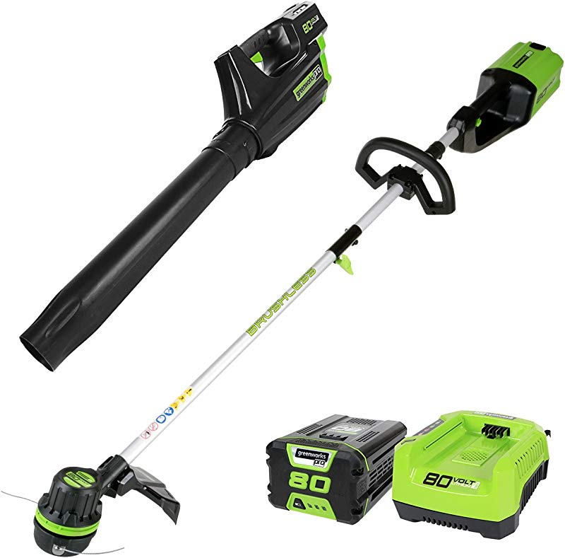 Greenworks PRO 80V Cordless Brushless String Trimmer Blower Combo 2Ah Battery Included STBA80L210