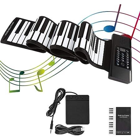 KKTECT Piano enrollable de 88 teclas Teclado de piano plegable portátil Funciones del kit de piano/batería, para principiantes adultos o práctica de ...