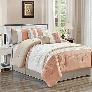 KingLinen 7 Piece Ximena Blush/Ivory/Taupe Comforter Set Queen