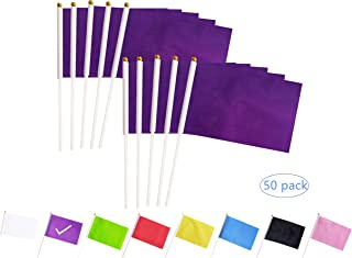 tibijoy Purple Stick Flags, 50 Pack Hand Held Small Purple Flags On Stick,Perfect Decorations Themed Party,Sports Clubs,Festival Events,Garden,Golf Course,Playground,Flower Pot