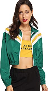 MAKEMECHIC Women's Sporty Zip Up Contrast Stripe Running Coat Jacket Crop Top