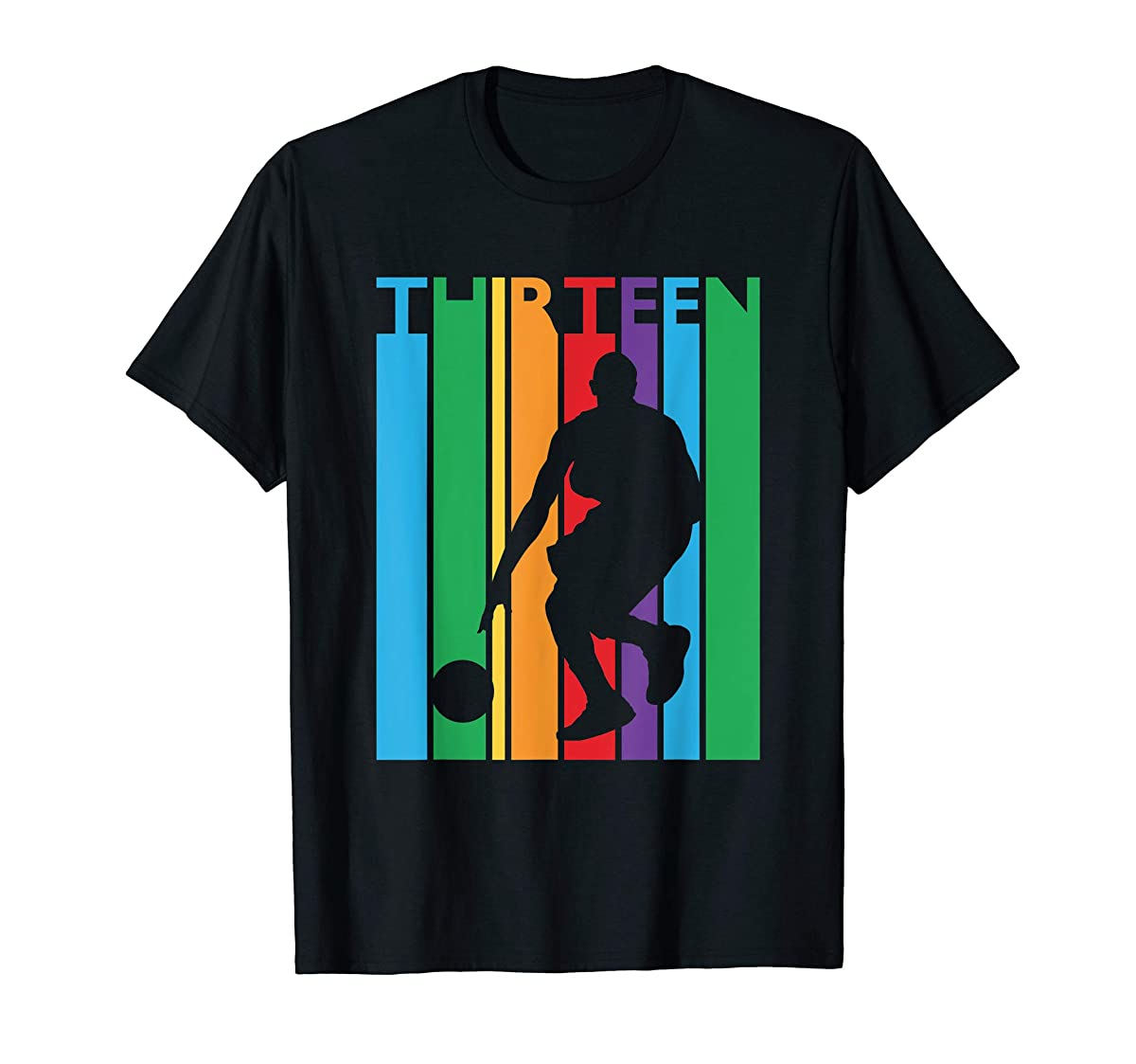 13th Birthday Gift Thirteen Colorful Basketball 13 Year Old T-Shirt