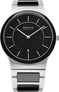 BERING Time 32239-747 Mens Ceramic Collection Watch with Stainless Steel Band and Scratch Resistant Sapphire Crystal. Designed in Denmark.