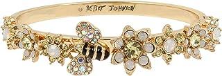 Bumble Bee & Mixed Flower Hinged Bangle Bracelet