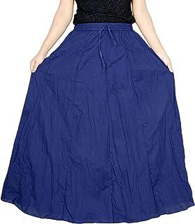 Sttoffa Women's White Skirt 44 inch Length Cotton Long Skirt