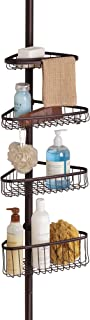 iDesign York Metal Wire Tension Rod Corner Shower Caddy, Adjustable 5'-9' Pole and Baskets for Shampoo, Conditioner, Soap with Hooks for Razors, Towels, Bronze
