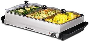 plato y calentador de alimentos 145 /°C English Electric Bandeja caliente redonda de 35 cm grande