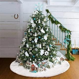 Gimland Christmas Tree Skirt 48 inches Snowy White Tree Skirt for Christmas Decorations for Party and Holiday (48