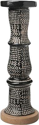 Benjara Tribal Pattern Ceramic Pillar Candle Holder, Black and Beige