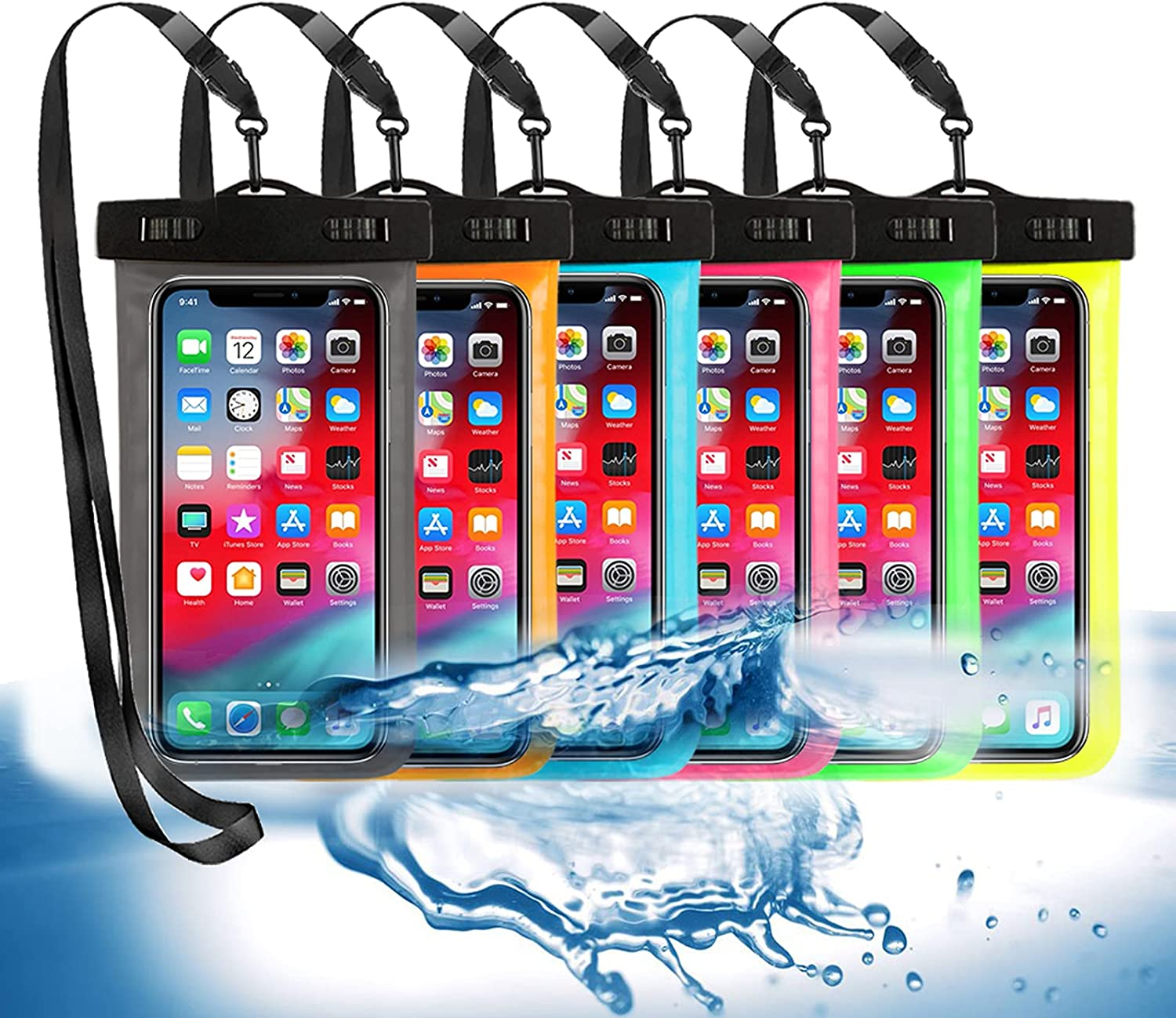 6 Pack Universal Waterproof Phone Pouch, Large Phone Waterproof Case Dry Bag IPX8 Outdoor Sports for Apple iPhone Pro XS XR XS 12 11 10 9 8 7 6 Plus,SE, Samsung S10 S10+ S9+ S9 S8+,Note,up to 6.5