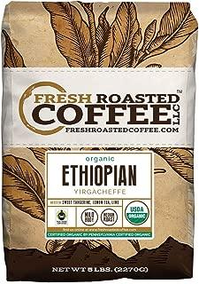 Fresh Roasted Coffee LLC, Organic Ethiopian Yirgacheffe Coffee, USDA Organic, Fair Trade, Medium Roast, Whole Bean, 5 Pound Bag
