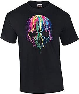 Neon Skull T-Shirt Melting Dripping Paint Skull Face