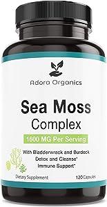 Adora Organic Sea Moss Complex 1600mg Plus Bladderwrack & Burdock - Boost The Immune System & Digestive Health - Cleanse and Detox - Thyroid, Healthy Skin, Keto Detox, Gut, Joint Support