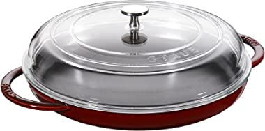 STAUB Cast Iron 12-inch Round Steam Griddle - Grenadine