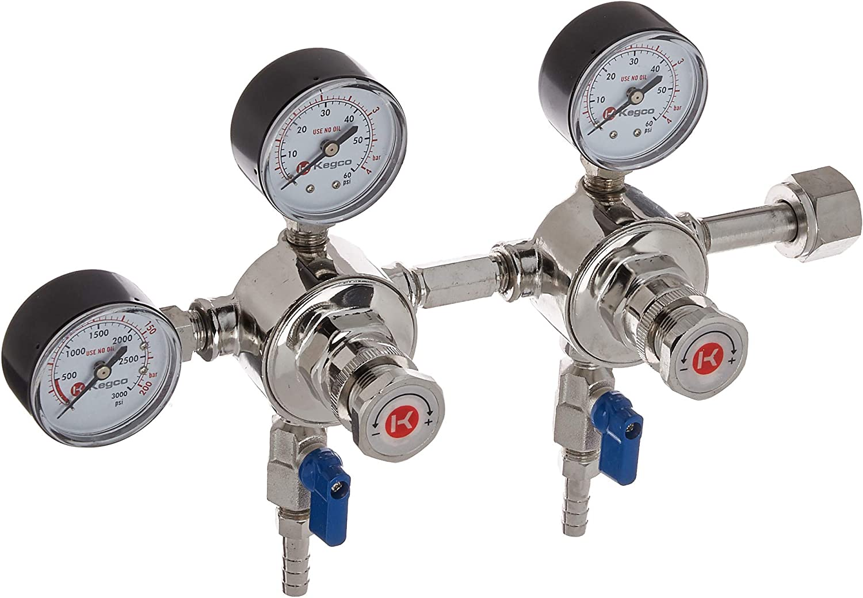 Kegco LH-542-DP CO2 Regulator, 2 Keg   2 Pressure