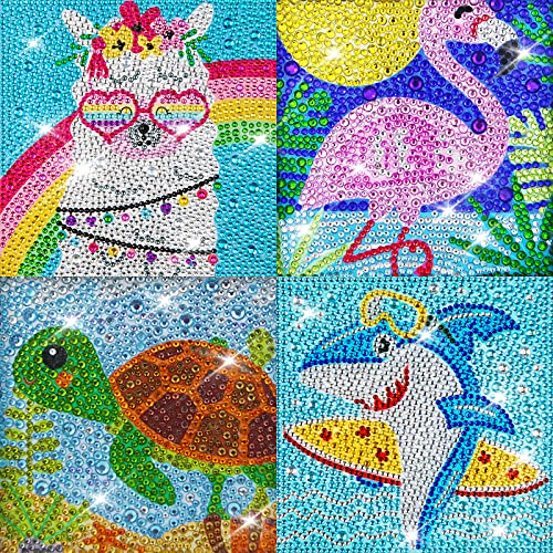 Labeol 4 Pieces 5D Diamond Painting Kit for Kids Easy to DIY Full Drill Painting by Number Kits Diamond Painting Art and Crafts Set Home Wall Decoration