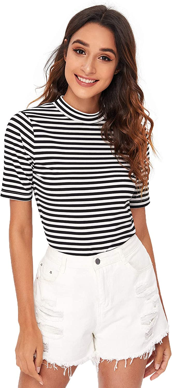 Floerns Women's Short Sleeve Striped Slim Fit Mock Neck Stretch T-Shirts