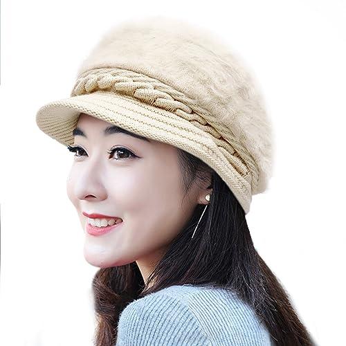 5904866ba74 MUCO Womens Beanie Winter Hat Knit Chunky Faux Fur Warm Linling Pom Poms Hat  Bobble Hat