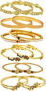 YouBella Ethnic Bollywood Gold Plated Traditional Indian Combo of 6 Bangles Set Jewellery for Women and Girls (6.3)
