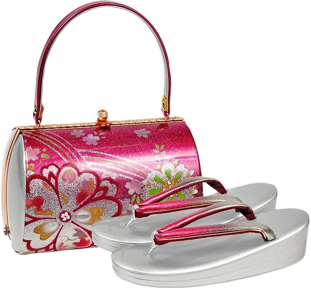 喪観客こしょう草履バッグセット レディース Fサイズ 桜柄 エナメル シルバー N1880