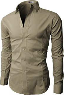 Mens Dress Slim Fit Shirts Long Sleeve Business Shirts Basic Designed Breathable