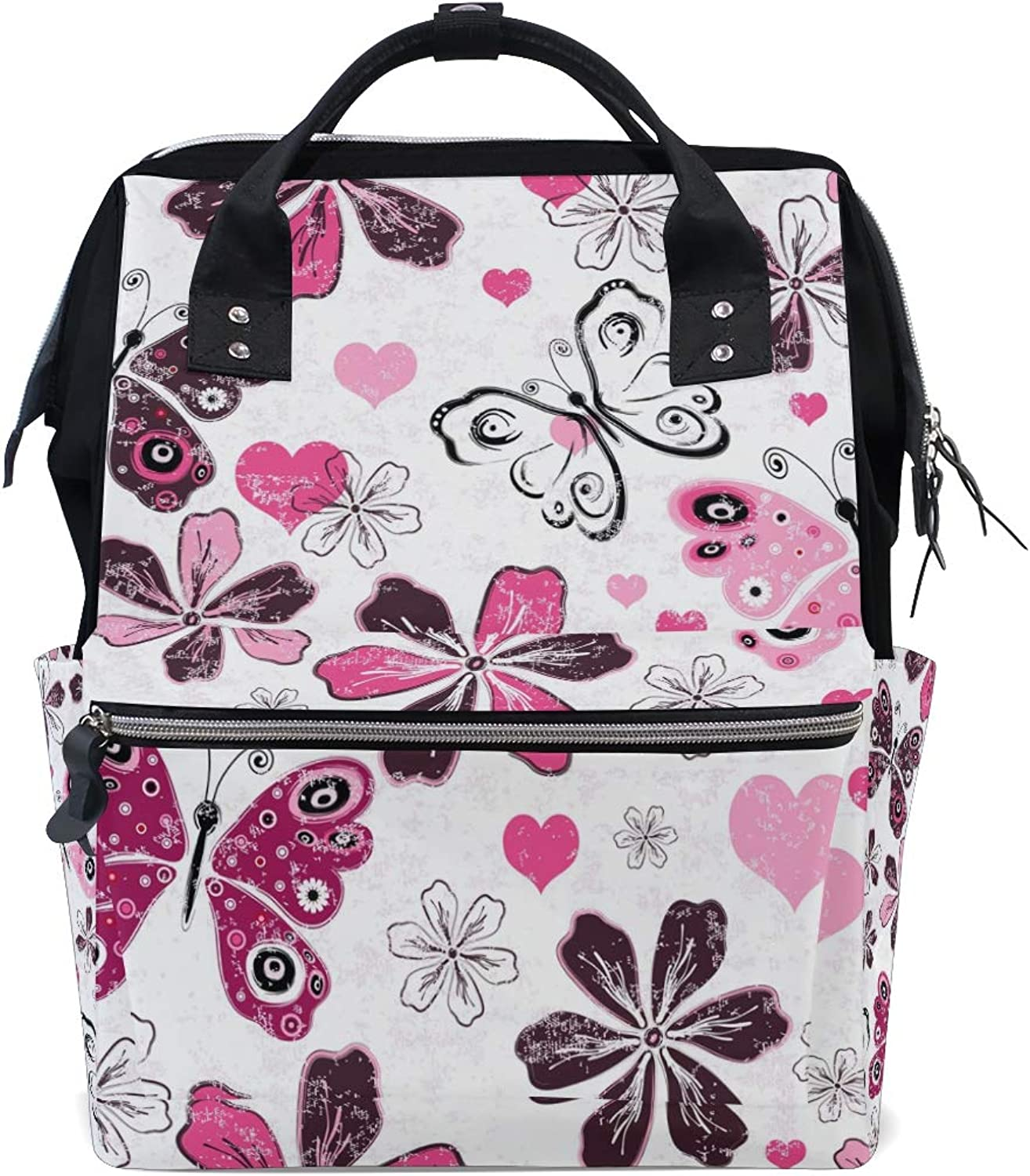 DEZIRO Canvas Cartoon Butterfly and Flower School Pack Backpacks Travel Bag