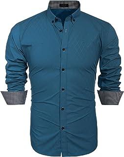 Men's Slim Fit Dress Shirt Long Sleeve Business Plaid Button Down Collar Shirt