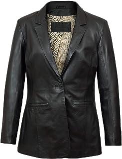 HIDEPARK Beth: Women's Black Fitted Leather Blazer