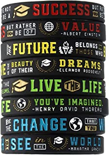 12-Pack - Graduation Inspirational Quote Bracelets, Variety Pack - Wholesale Bulk Silicone Rubber Wristbands for Graduation Party Supplies Favors - Giveaway Gifts Awards for Guests Graduates Students