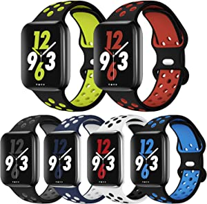 OriBear Sport Band Compatible with Apple Watch Bands 44mm 42mm 45mm Series 7/6/5/4 Breathable Soft Silicone Replacement Strap Women and Men for iWatch 42mm Series 3/2/1 Nike+ All Various Styles 6 Pack
