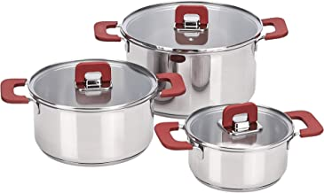AmazonBasics Juego de ollas de induccion de acero inoxidable, antiadherentes, 3 piezas