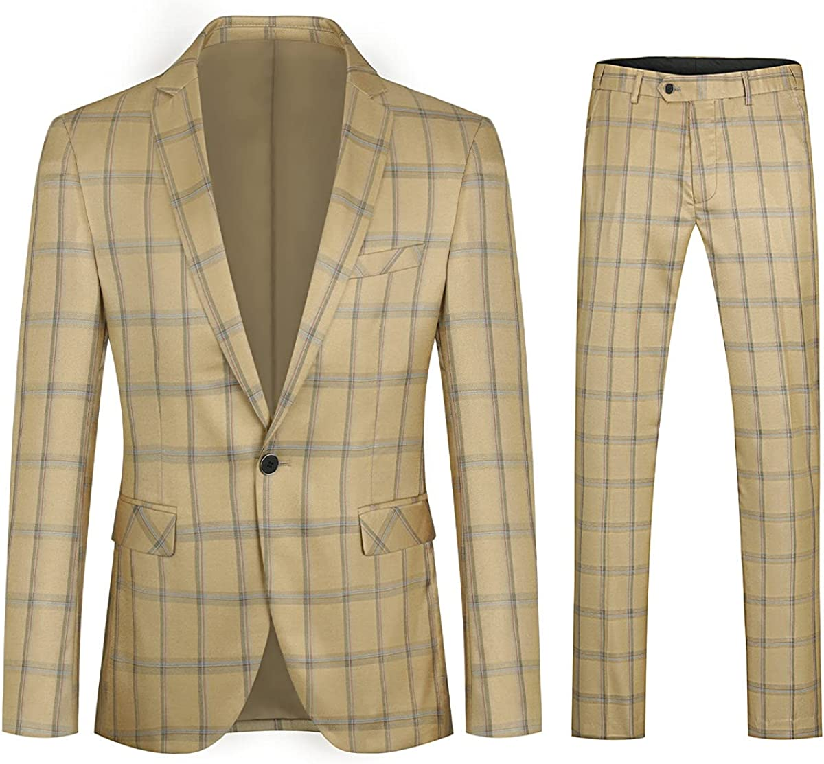 Mens Dress Suit 2 Piece Checked Plaid 1 Button Single-Breasted Slim Fit Blazer Pants Sets