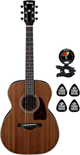 Ibanez AC240-OPN 6 String Acoustic Electric Guitar with Solid Mahogany Top and Rosewood Fingerboard (Bundle) with Clip on Guitar Tuner and 4 Zorro Sounds Guitar Picks - Open Pore Natural