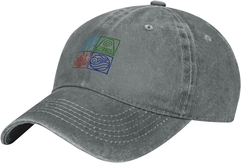 Avatar The Last Airbender-4 Element Symbols Unisex Sun Hats Retro Sports Cowboy Hat Adjustable Snapback Baseball Denim Cap