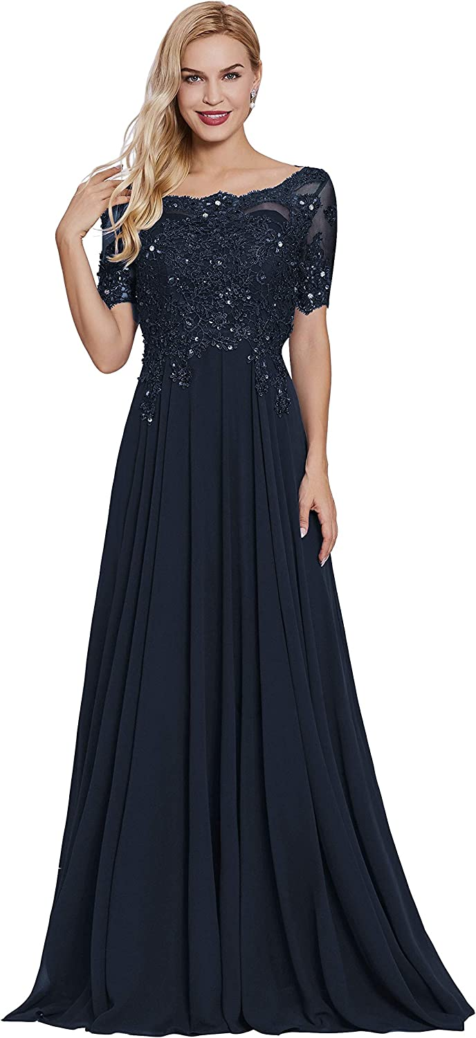 Women's Boat Neck Lace Appliques Mother of The Bride Dress Long A Line Prom Formal Evening Dresses with Sleeves