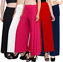 PIXIE lets work together! Stylish Casual Wear Malai Lycra Pant Palazzo Combo Pack of 5 - Free Size