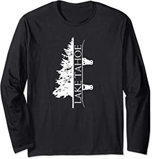 Lake Tahoe Mountain California Ski Snowboard Snow Tree Long Sleeve T-Shirt