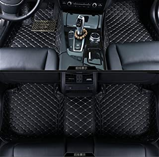 Okutech Custom Fit Luxury XPE Leather Waterproof 3D Surrounded Full Set Car Floor Mats for Maserati (Ghibli S Q4 2014-2016, Black with gold stitching)