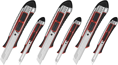 lowest ORIENTOOLS Utility wholesale Knife Box Cutters Retractable 6-Pack Set, Snap Knife, Rust-Proof Zinc Alloy Body for Heavy Duty Office, Home, Hobby for Cutting Boxes, Carpet, popular Rope online